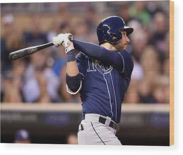 Three Quarter Length Wood Print featuring the photograph Kevin Kiermaier by Hannah Foslien