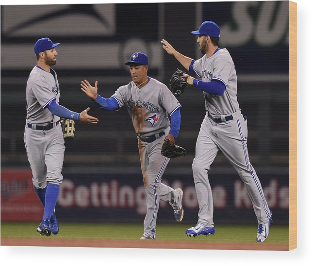 People Wood Print featuring the photograph Kevin Pillar, Chris Colabello, and Ezequiel Carrera by Hannah Foslien