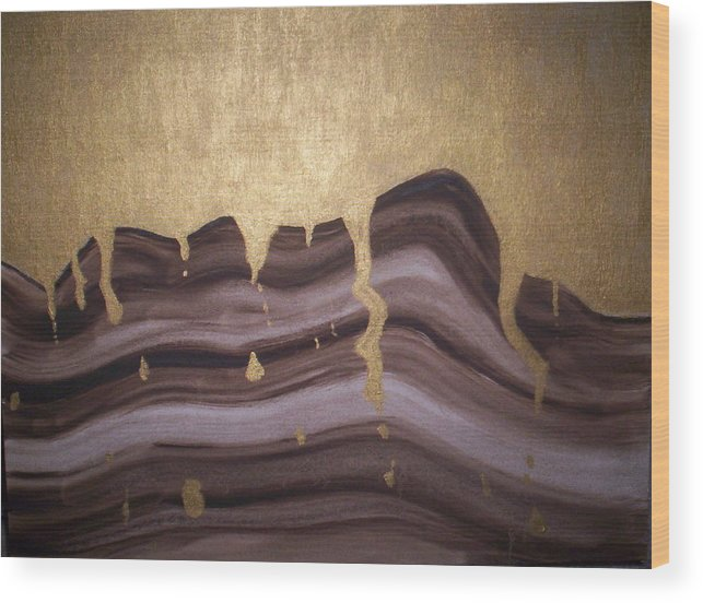 Abstract Wood Print featuring the painting Liquid Gold by Becca Haney
