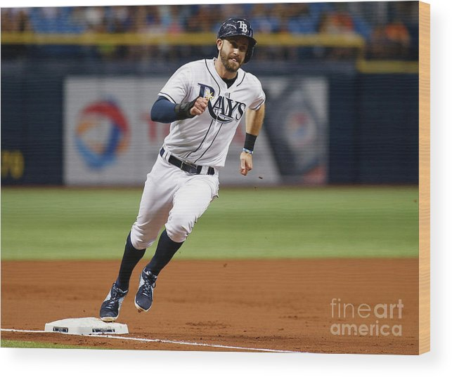 People Wood Print featuring the photograph Logan Morrison and Evan Longoria by Brian Blanco