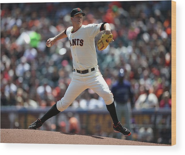 San Francisco Wood Print featuring the photograph Matt Cain by Brad Mangin
