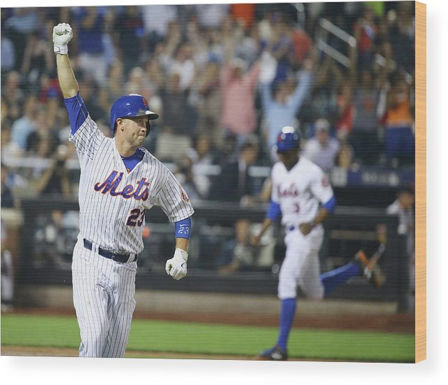 People Wood Print featuring the photograph Michael Cuddyer and Curtis Granderson by Al Bello