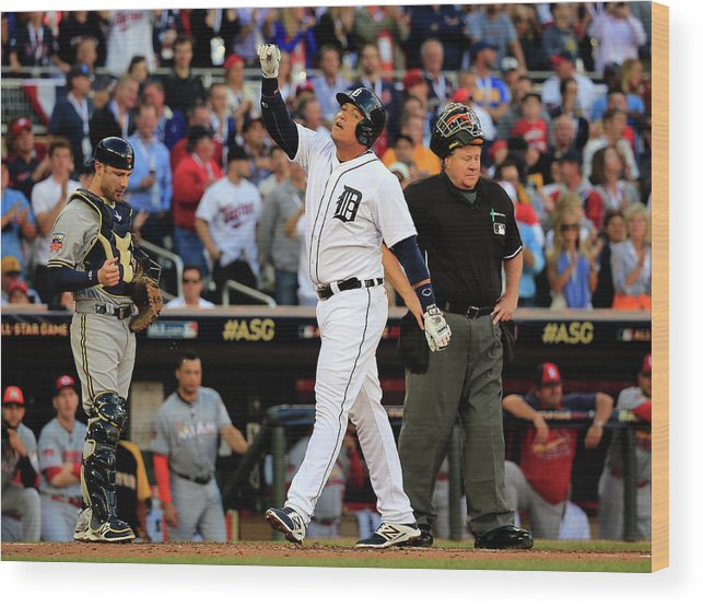 American League Baseball Wood Print featuring the photograph Miguel Cabrera by Rob Carr