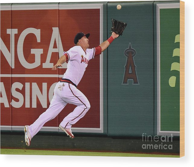 People Wood Print featuring the photograph Mike Trout and Adam Eaton by Harry How