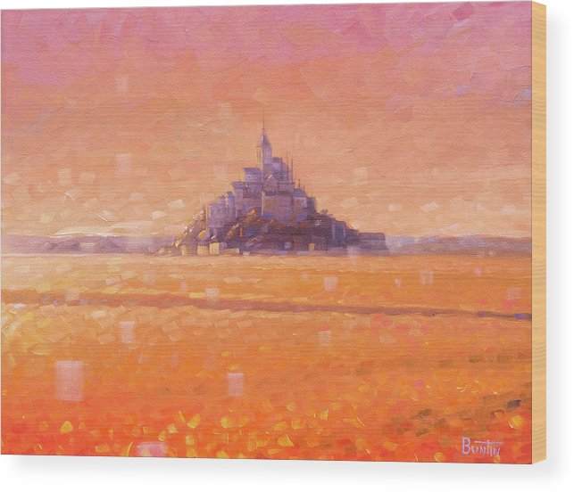 Mont Saint Michel Wood Print featuring the painting Mont Saint Michel by Rob Buntin