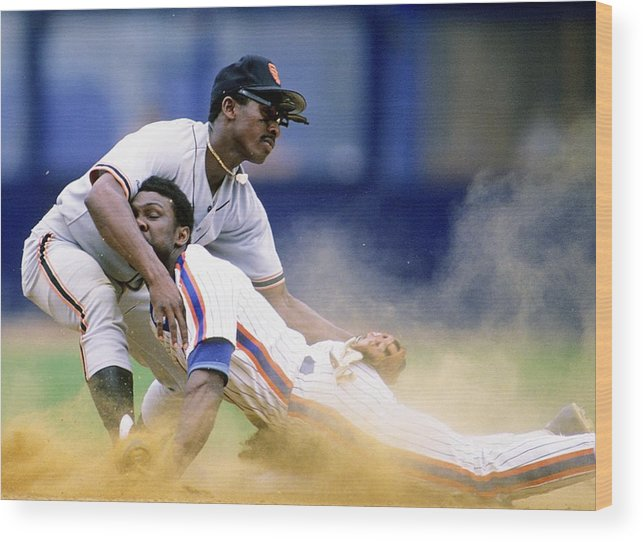 1980-1989 Wood Print featuring the photograph Mookie Wilson by Ronald C. Modra/sports Imagery