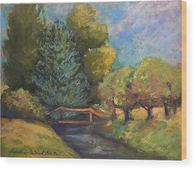 Water Stream Bridge Summer Trees Wood Print featuring the painting Mount Vernon summer by Caroline Patrick