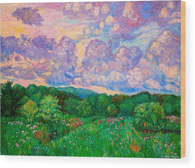 Landscape Wood Print featuring the painting Mushroom Clouds by Kendall Kessler