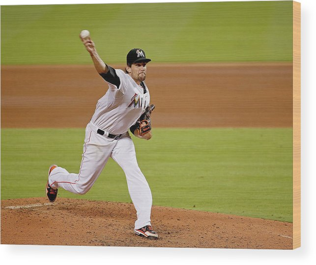 American League Baseball Wood Print featuring the photograph Nathan Eovaldi by Rob Foldy