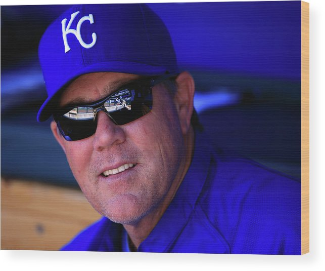 American League Baseball Wood Print featuring the photograph Ned Yost by Jamie Squire