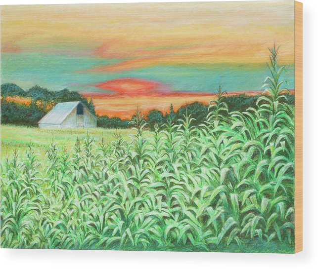 Landscape Wood Print featuring the painting Neola Corn by Arthur Fix