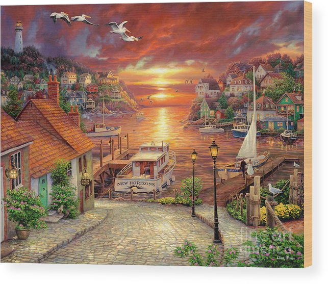 Million Dollar Art Wood Print featuring the painting New Horizons by Chuck Pinson