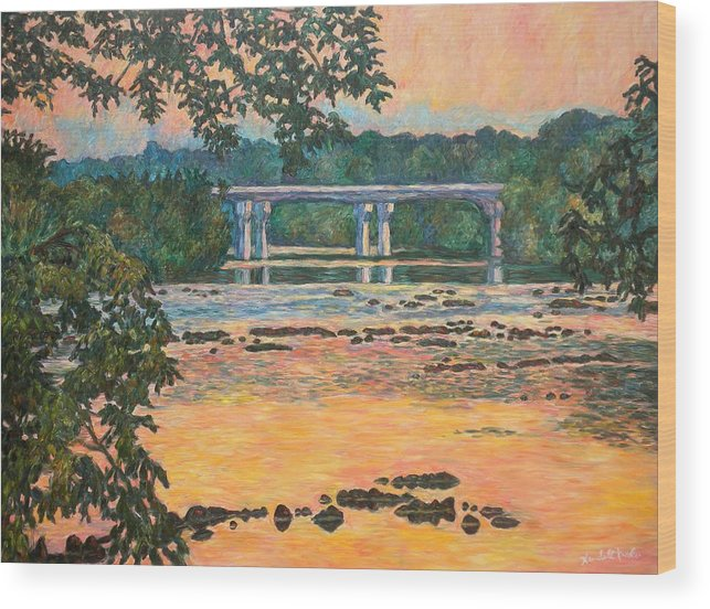 Landscape Wood Print featuring the painting New Memorial Bridge at Dusk by Kendall Kessler