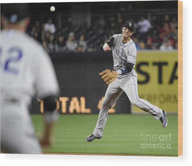 Second Inning Wood Print featuring the photograph Nick Hundley and Troy Tulowitzki by Denis Poroy