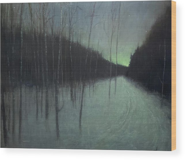Wood Print featuring the painting Night Luster by Mary Jo Van Dell