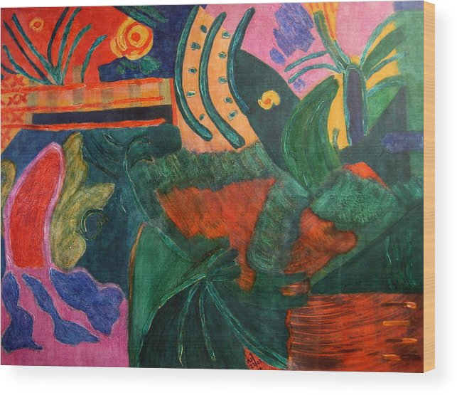 Abstract/landscape; Ink On Stretched Canvas Wood Print featuring the painting No.321. by Vijayan Kannampilly