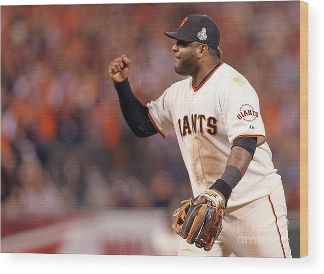 Game Two Wood Print featuring the photograph Pablo Sandoval and Gerald Laird by Christian Petersen