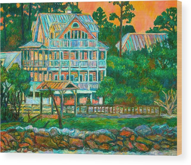 Landscape Wood Print featuring the painting Pawleys Island Evening by Kendall Kessler