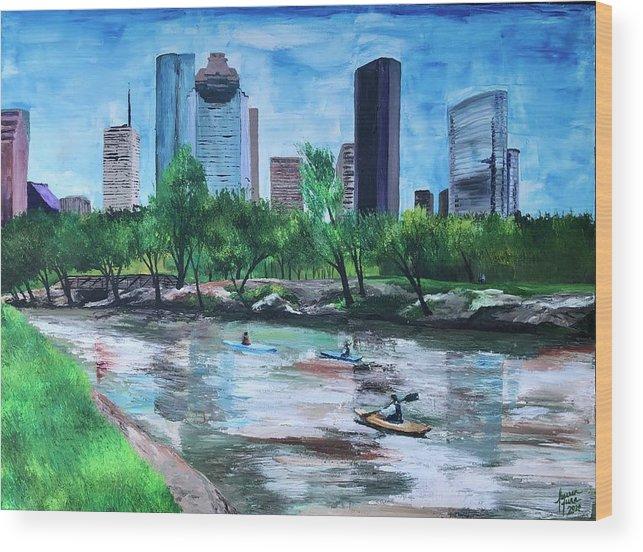 River Wood Print featuring the painting Pon de River by Lauren Luna