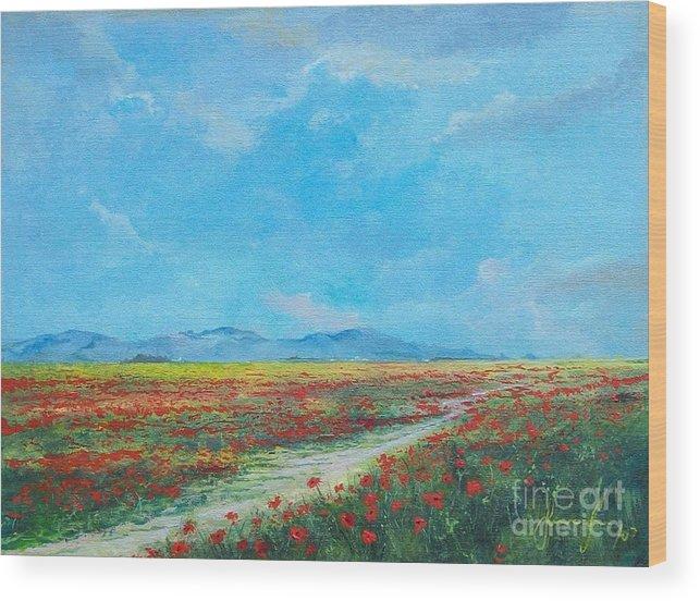 Poppy Field Wood Print featuring the painting Poppy Field by Sinisa Saratlic