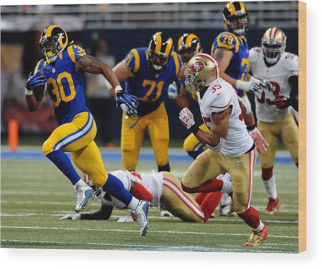 People Wood Print featuring the photograph San Francisco 49ers v St Louis Rams by Michael B. Thomas