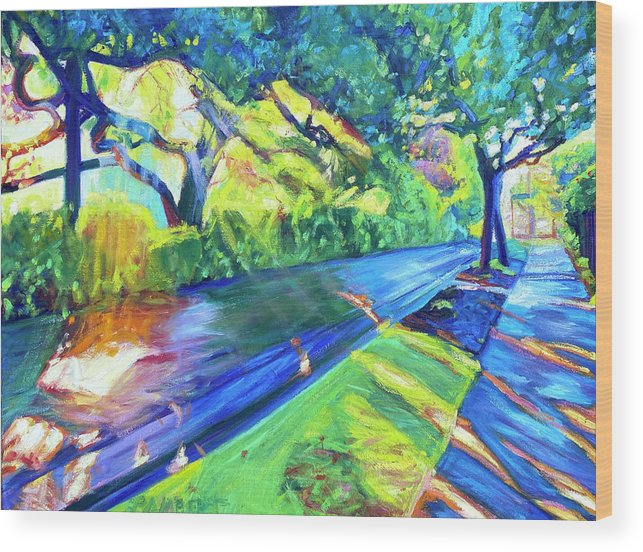 Neighborhood Wood Print featuring the painting Shade and Sunshine by Bonnie Lambert