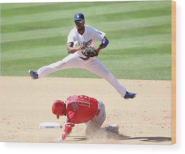 Double Play Wood Print featuring the photograph Shane Victorino and Jimmy Rollins by Stephen Dunn