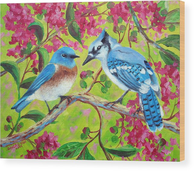 Birds Wood Print featuring the painting Sharing A Branch by David G Paul