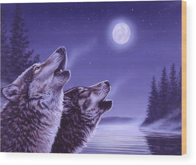 Wolf Wood Print featuring the painting Song of the North by Richard De Wolfe