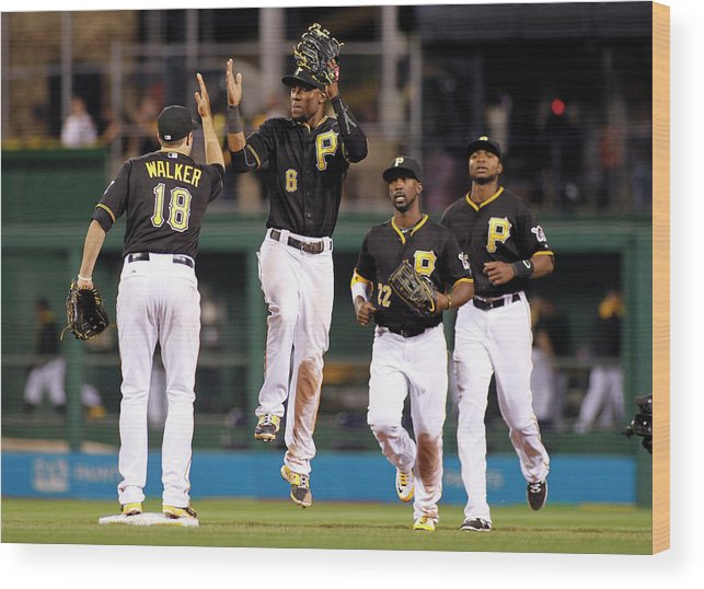 American League Baseball Wood Print featuring the photograph Starling Marte by Justin K. Aller