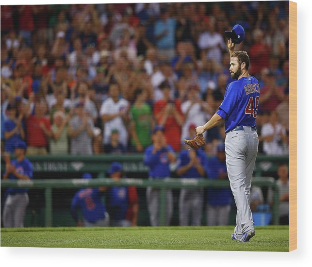American League Baseball Wood Print featuring the photograph Stephen Drew and Jake Arrieta by Jared Wickerham