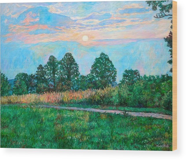 Kendall Kessler Wood Print featuring the painting Sunset Near Fancy Gap by Kendall Kessler