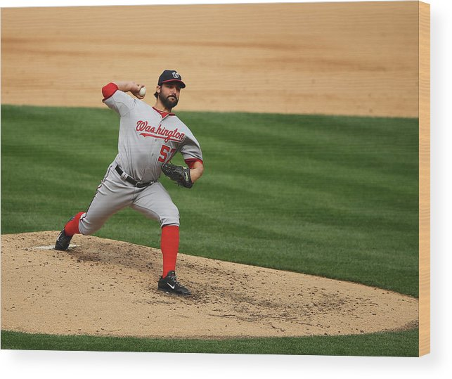 People Wood Print featuring the photograph Tanner Roark by Al Bello