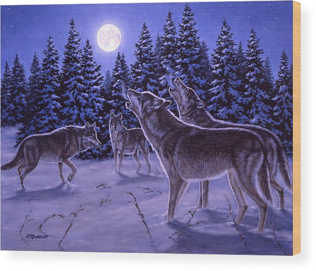 Wolf Wood Print featuring the painting The Howling by Richard De Wolfe