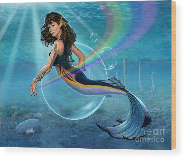Mermaid Wood Print featuring the digital art The Mermadancer by Stu Shepherd