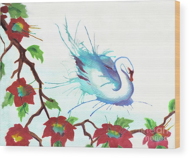 Swan Wood Print featuring the painting The Messanger by Angelique Bowman