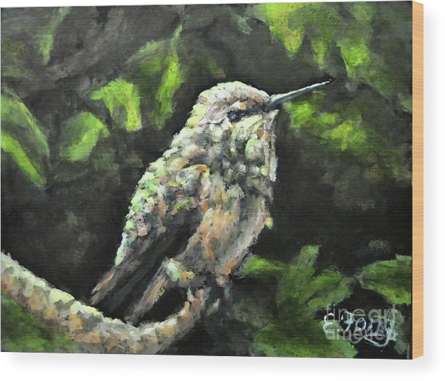 Hummingbird Wood Print featuring the painting This Hummingbird Loves my Green Tree Maple by Eileen Fong