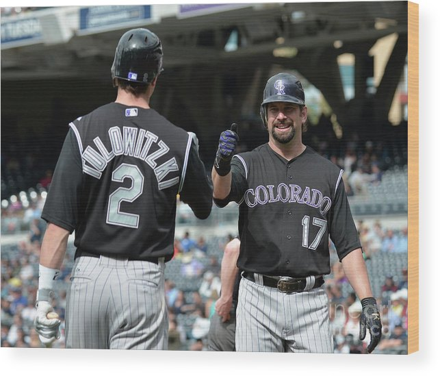 People Wood Print featuring the photograph Todd Helton and Troy Tulowitzki by Denis Poroy