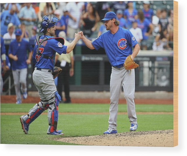 People Wood Print featuring the photograph Travis Wood and Miguel Montero by Al Bello