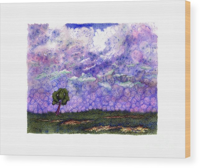 Clouds Wood Print featuring the painting Voices in The Sky by Karen Wheeler