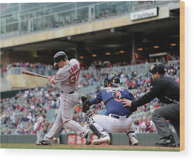 Ninth Inning Wood Print featuring the photograph Boston Red Sox V Minnesota Twins by Hannah Foslien