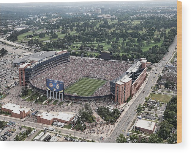 Michigan Stadium Wood Print featuring the photograph International Champions Cup 2014 - Real by Leon Halip