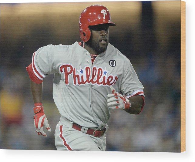 Tony Gwynn Jr. Wood Print featuring the photograph Philadelphia Phillies V Los Angeles by Harry How