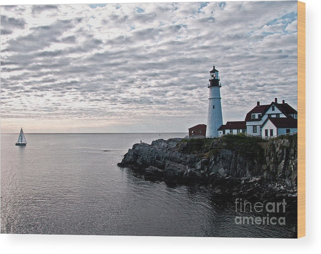 Portland Headlight Wood Print featuring the photograph Portland Head Light by Brenda Giasson