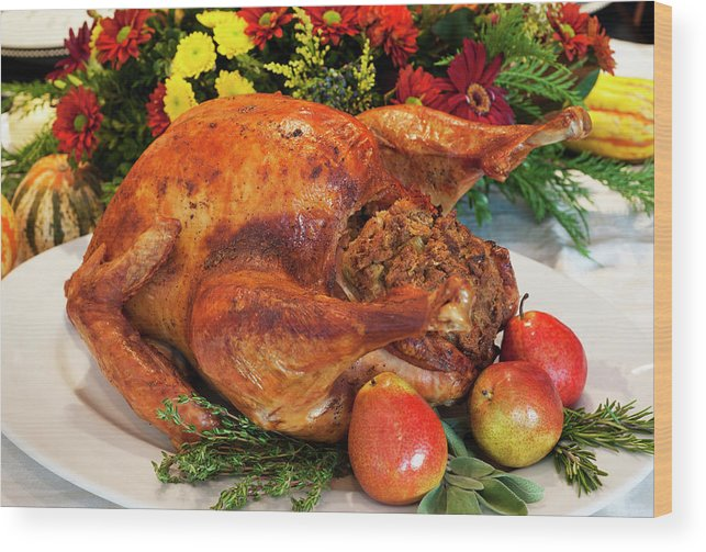 Stuffed Wood Print featuring the photograph Roast Turkey by Tetra Images