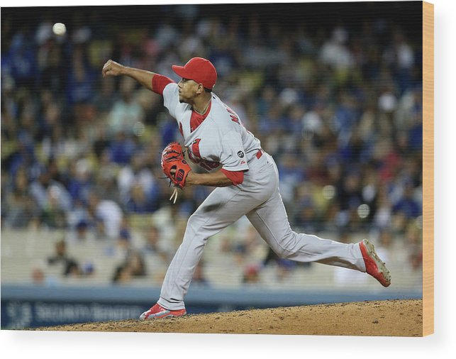 St. Louis Cardinals Wood Print featuring the photograph St Louis Cardinals V Los Angeles Dodgers by Stephen Dunn