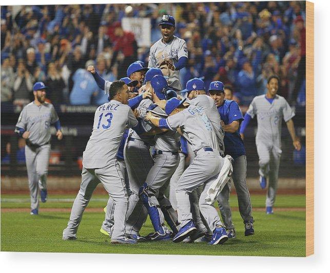 American League Baseball Wood Print featuring the photograph World Series - Kansas City Royals V New by Elsa