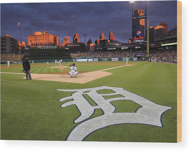 American League Baseball Wood Print featuring the photograph Minnesota Twins V Detroit Tigers by Leon Halip