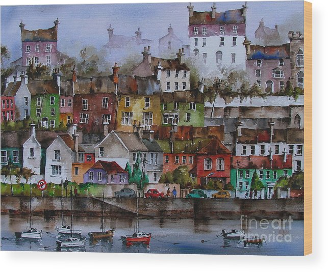 Val Byrne Wood Print featuring the painting 107 Windows Of Kinsale Co Cork by Val Byrne