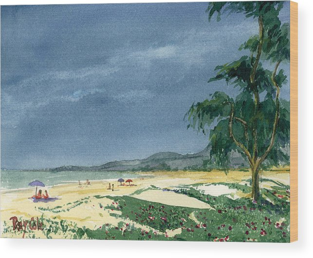 Beach Day Wood Print featuring the painting Dark Sky by Ray Cole